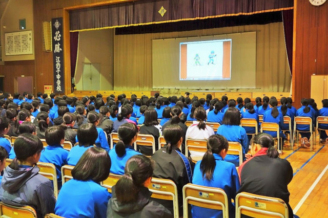 北上市立江釣子中学校で講演会